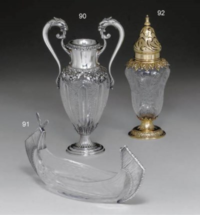 A SILVER-MOUNTED GLASS VASE