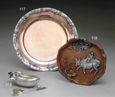 A SILVER AND COPPER SERVING PL