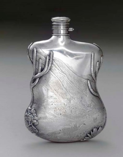 AN IMPORTANT SILVER FLASK OF H