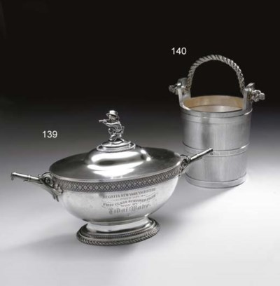 A SILVER YACHT TROPHY TUREEN