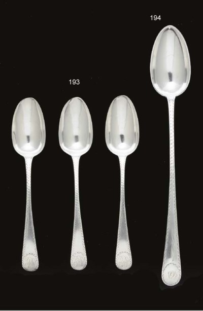 A SET OF SIX SILVER TABLE SPOO