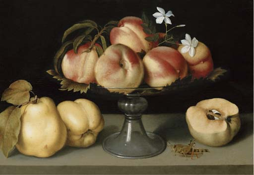 Fede Galizia (1578-1630), A glass compote with peaches, jasmine flowers, quinces and a grasshopper, circa 1600. Oil on panel. 12 x 16¾ in (30.5 x 42.5 cm). Sold for $1,640,000 on 6 April 2006 at Christie's in New York