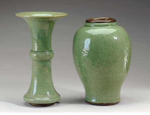 TWO CHINESE LONGQUAN CELADON S