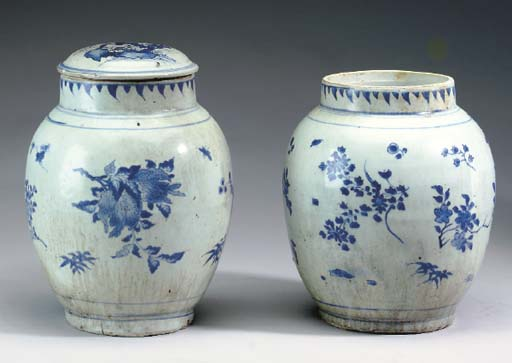 TWO CHINESE TRANSITIONAL BLUE
