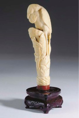 A CHINESE IVORY FINIAL CARVING