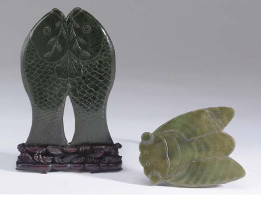 TWO CHINESE GREEN JADE PLAQUES