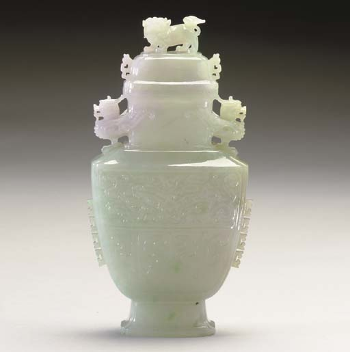 A CHINESE PALE GREEN AND LAVEN