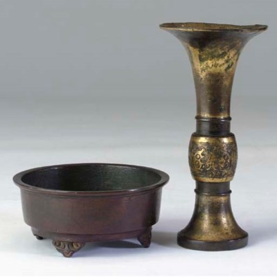 TWO CHINESE BRONZE VESSELS AND