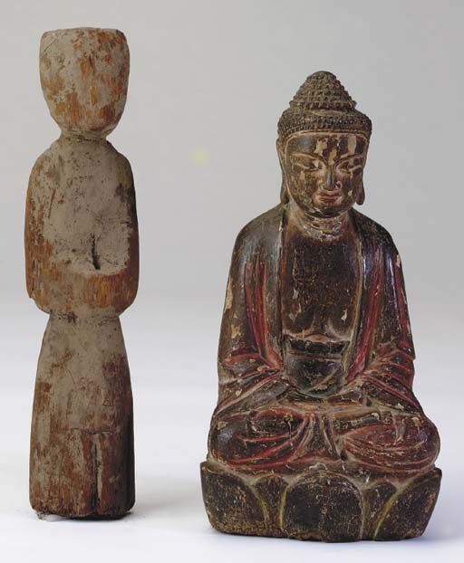 TWO CHINESE WOOD FIGURES,