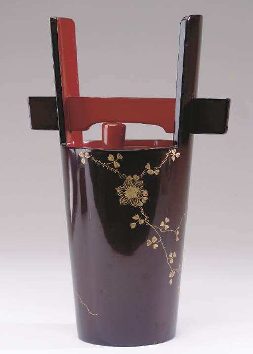 A JAPANESE BROWN AND RED LACQU