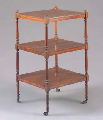 A VICTORIAN ROSEWOOD ETAGERE,