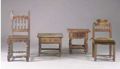 A GROUP OF FOUR JACOBEAN STYLE