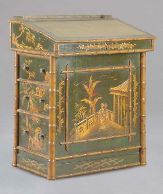 A VICTORIAN LACQUER AND FAUX B