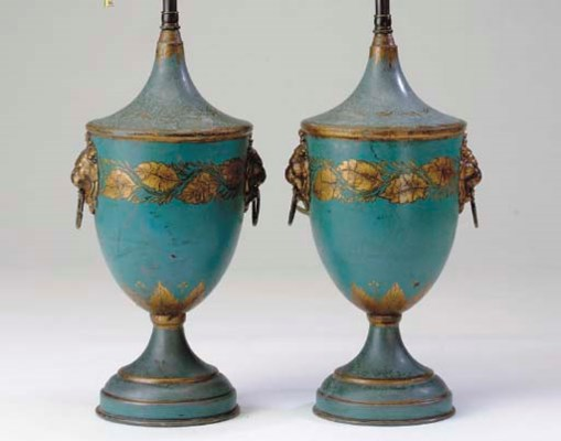 A PAIR OF TOLE PEINTE URN-FORM