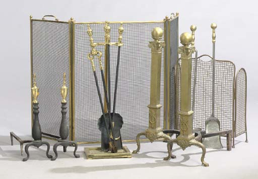 TWO PAIRS OF BRASS ANDIRONS TO