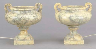 A PAIR OF ALABASTER TAZZE FITT