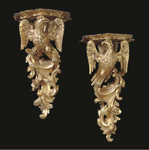 A MATCHED PAIR OF ENGLISH GILT