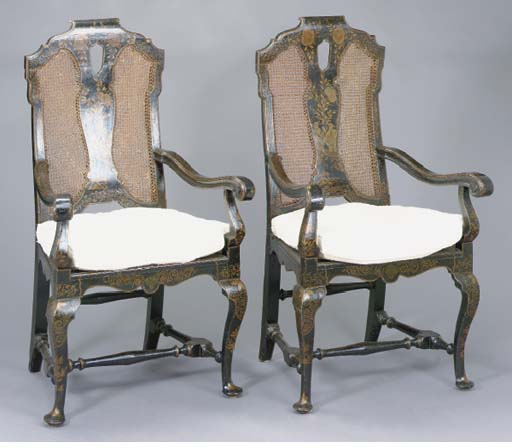 A PAIR OF QUEEN ANNE STYLE BLA