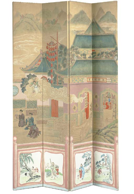 A CHINESE PAINTED-PAPER FOUR P