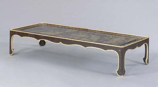 A CHINESE BROWN AND GILT-LACQU