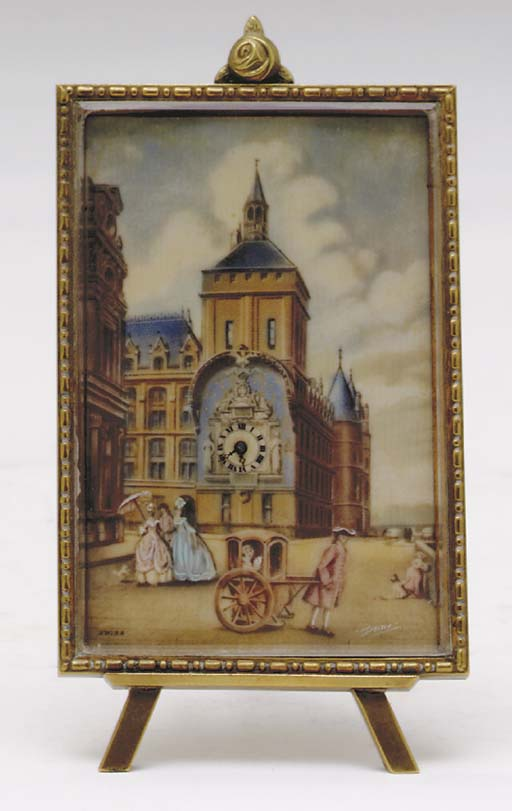 A SWISS MINIATURE CLOCK WITH P