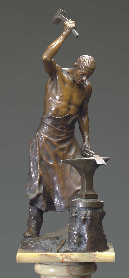 A BRONZE SCULTPTURE OF A BLACK