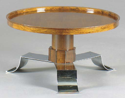 AN ART DECO STYLE WALNUT AND C