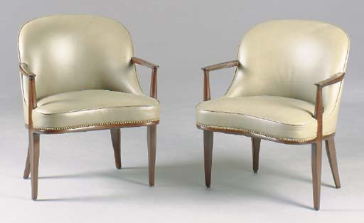 A PAIR OF ART DECO STYLE TAUPE