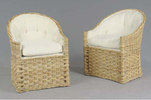 A PAIR OF WICKER UPHOLSTERED C