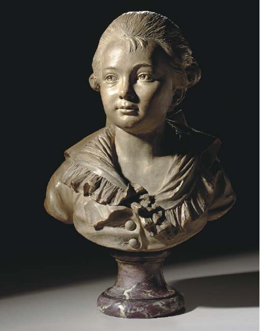 A TINTED TERRACOTTA BUST OF A