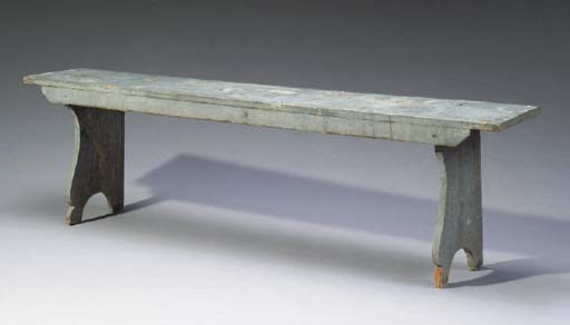 AN AMERICAN BLUE-PAINTED BENCH