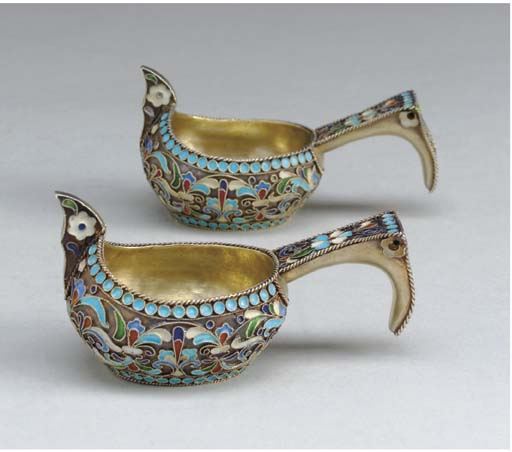 TWO RUSSIAN SILVER AND ENAMEL