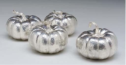 A SET OF FOUR DIAMOND-INSET PU