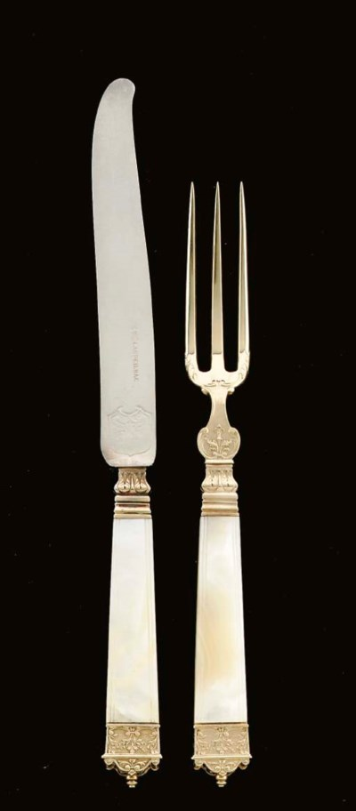 A FRENCH SILVER-GILT AND MOTHE