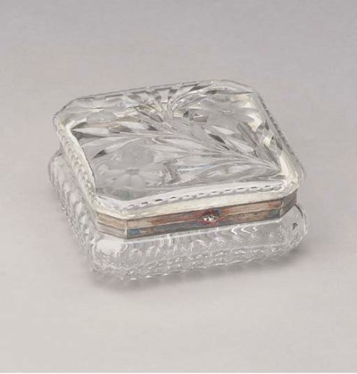 A CUT-GLASS TABLE BOX,
