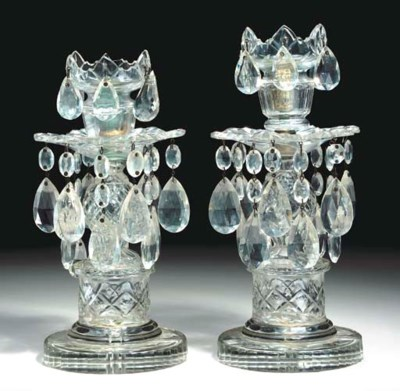 A PAIR OF ENGLISH CUT-GLASS CA