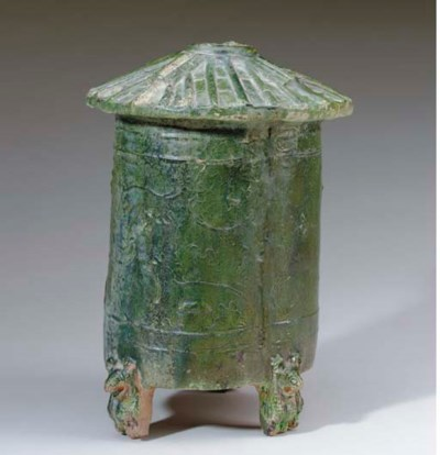 A CHINESE GREEN-GLAZED RED POT