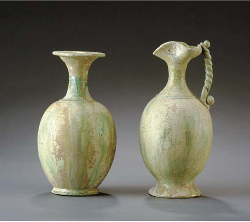 TWO CHINESE GREEN-GLAZED VESSE
