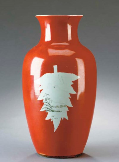 A CHINESE IRON-RED PORCELAIN B