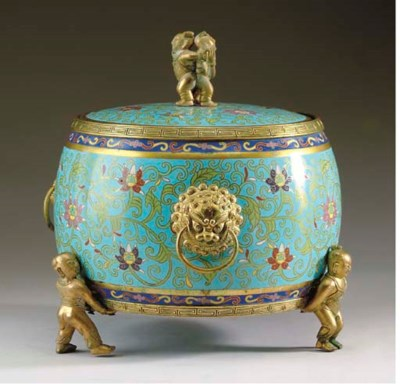 A CHINESE GILT-BRONZE AND CLOI