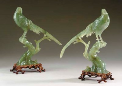 A PAIR OF CHINESE GREEN HARDST