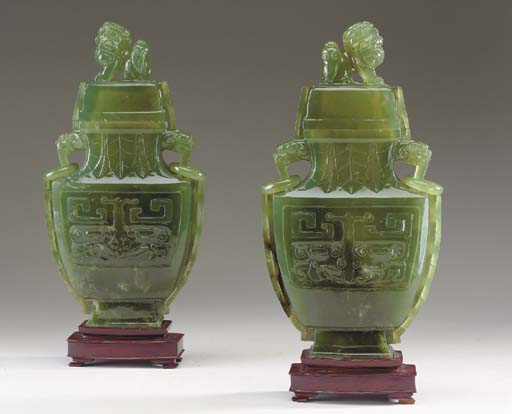 A PAIR OF CHINESE GREEN JADE F