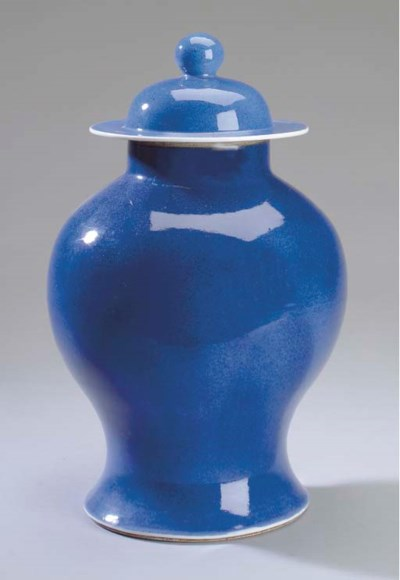 A CHINESE POWDER BLUE-GLAZED P