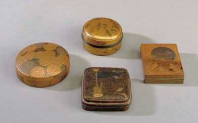 FIVE JAPANESE LACQUER COVERED