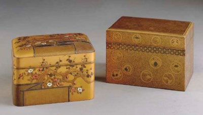 TWO JAPANESE LACQUER COVERED B