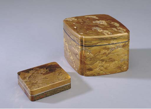 TWO JAPANESE GOLD LACQUER COVE