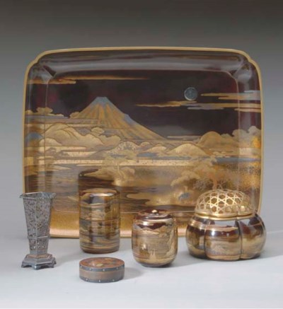 A JAPANESE FOUR-PIECE LACQUER