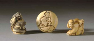 THREE IVORY NETSUKE**,