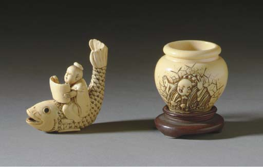 TWO JAPANESE IVORY NETSUKE**,