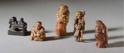 FIVE JAPANESE WOOD NETSUKE,
